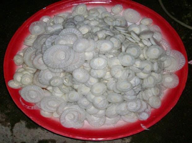 Kedebong pisang yang sudah diiris tipis-tipis bahan baku sayur ares khas lombok